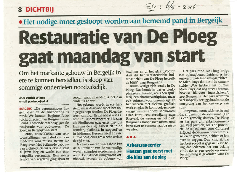 Start Restaurantie De Ploeg van start